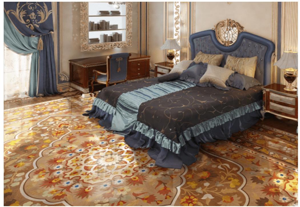 Intarsia Wooden Flooring in Bedroom